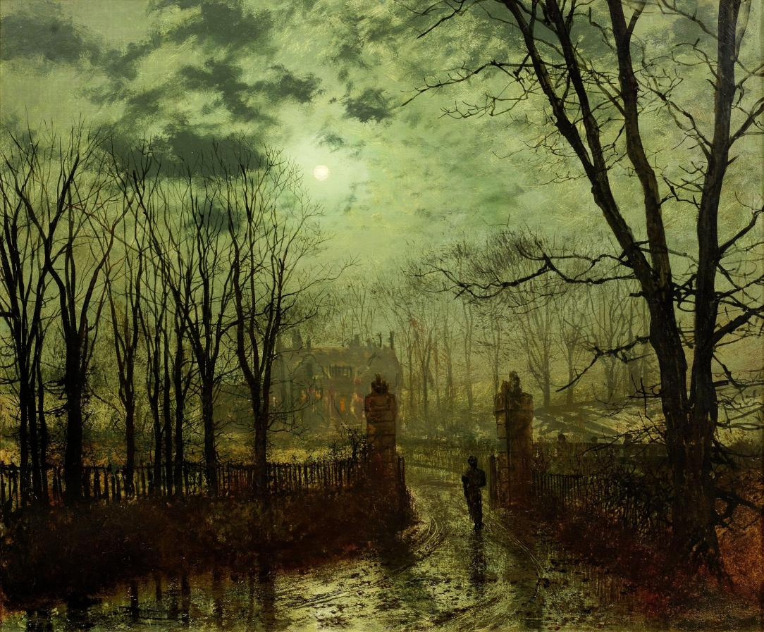 John_Atkinson_Grimshaw,_At_The_Park_Gate,_1878